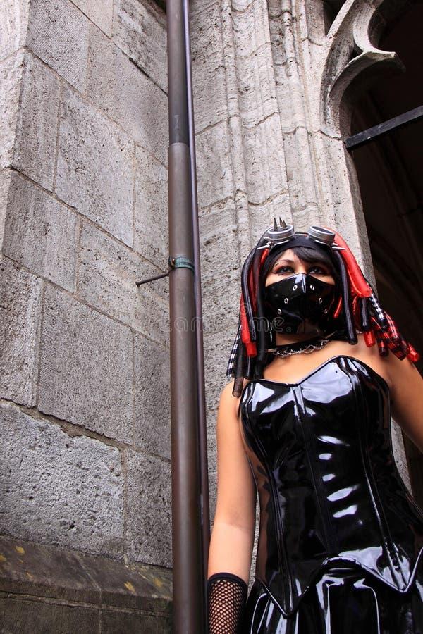 Extreme gotische meisjesmanier stock foto's