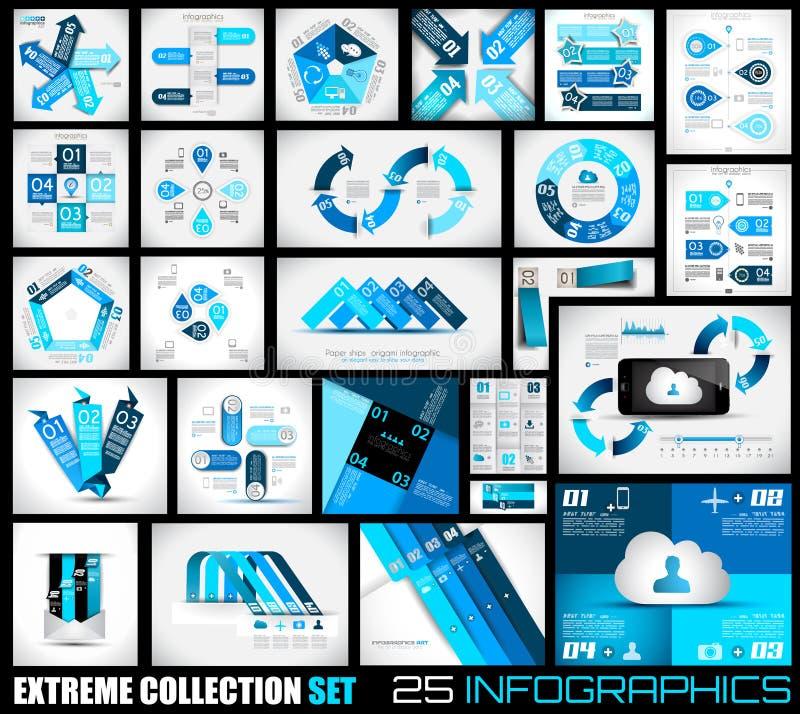Extreme Inzameling van de achtergrond van 25 kwaliteitsinfographics. vector illustratie