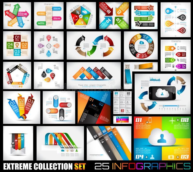 Extreme Inzameling van 25 kwaliteit Infographics stock illustratie
