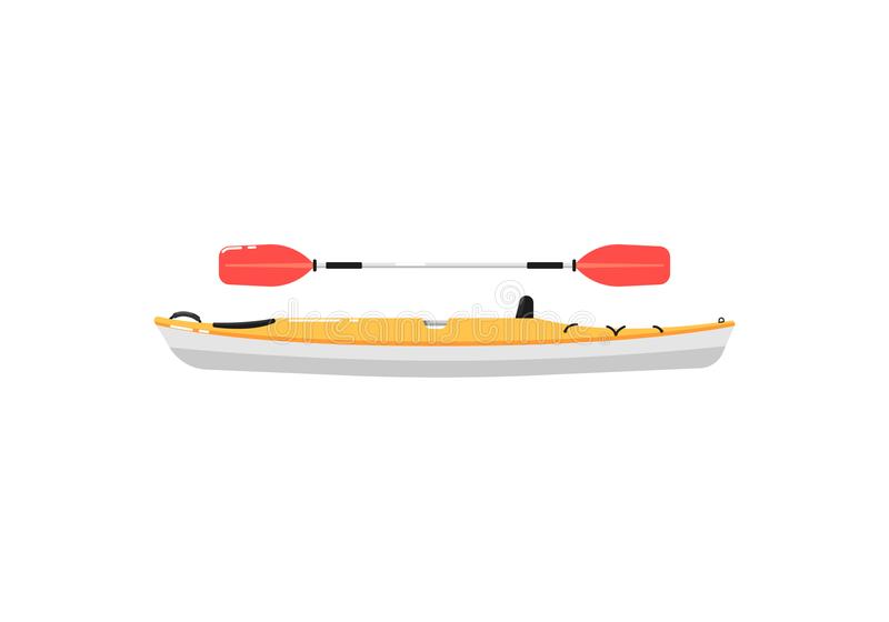 Extreme kayak with paddle isolated icon royalty free illustration