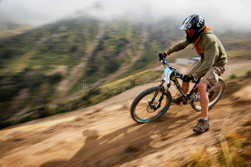Extreme mountain bike competition stock image