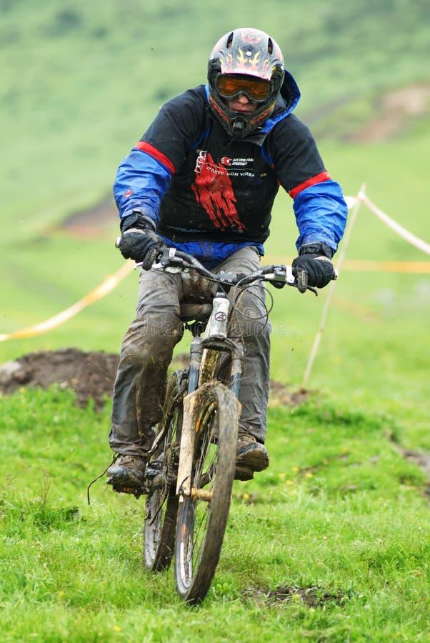 Extreme mountain bike downhill contest royalty free stock photo