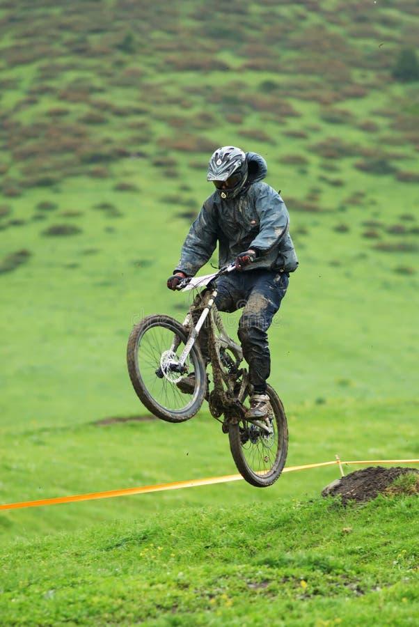 Extreme mountain bike downhill contest stock photos