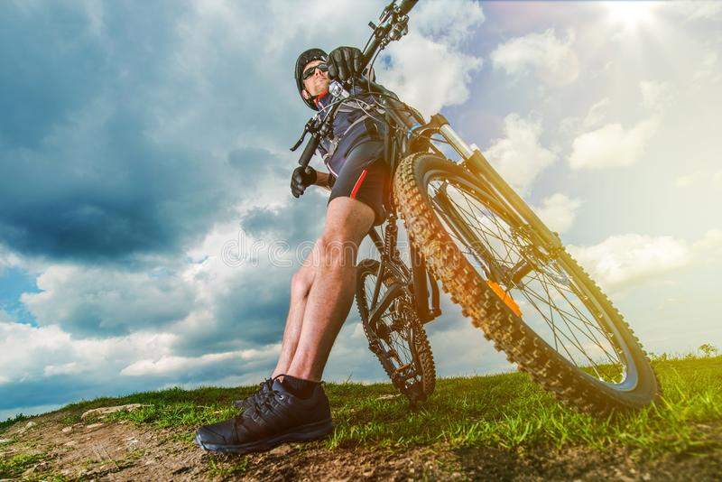 Extreme Mountain Biker stock photography