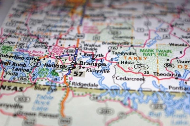 Extreme Nähe von Branson, Missouri in einer Karte lizenzfreie stockfotos