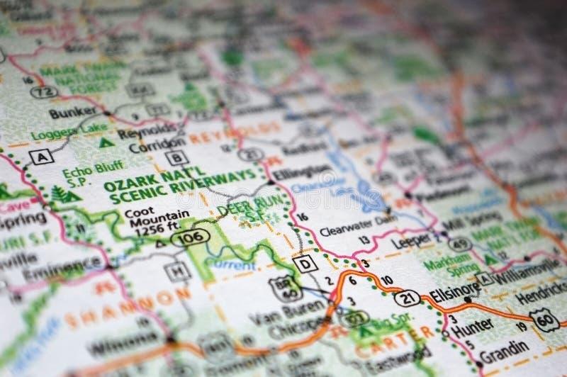 Extreme Nahaufnahme der National Scenic Riverways von Ozark in einer Karte lizenzfreie stockbilder