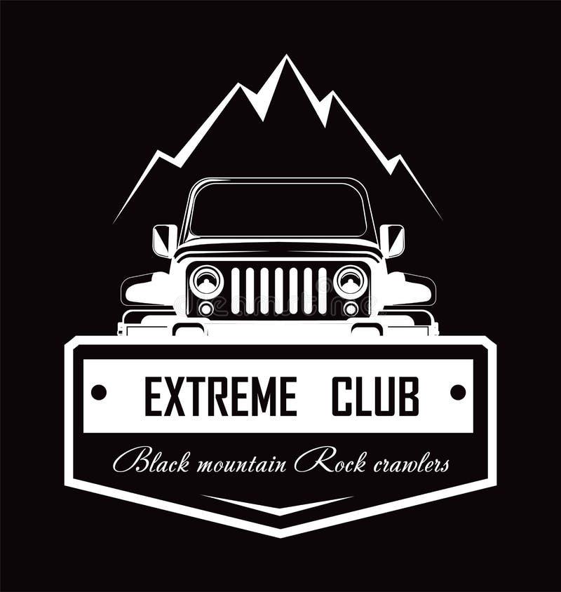 Extreme promo van de Rotskruippakjes van de club Zwarte berg logotype royalty-vrije illustratie