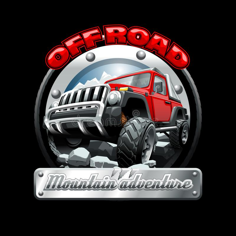 Extreme red Off Road Vehicle SUV on a mountain. Vector illustration. royalty free stock image