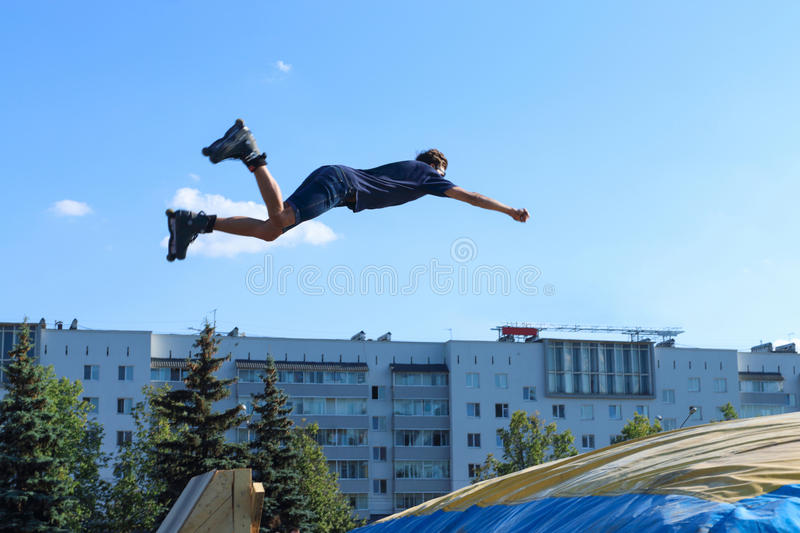 Extreme roller in jumping stock photo