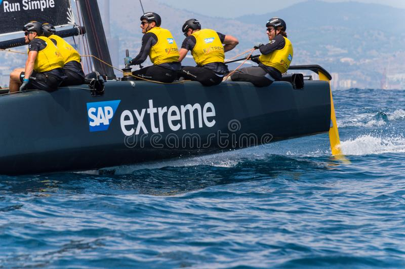 Extreme Sailing Series, Barcelona. The GC. 32 of SAP extreme during the race at Barcelona stock image