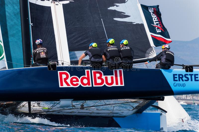 Extreme Sailing Series, Barcelona. Red bull team and his Gc-32 catamaran inclined during the race at Barcelona royalty free stock photo