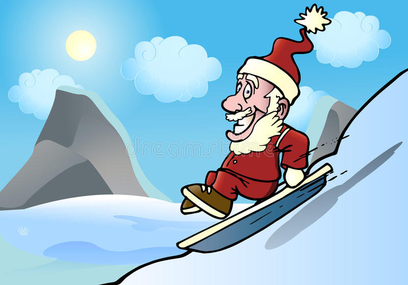 Download Extreme santa snowboarder stock illustration. Image of active - 22711679