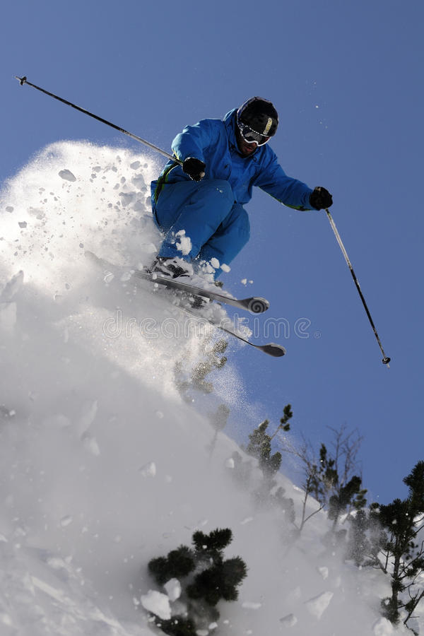 Extreme skier. royalty free stock images
