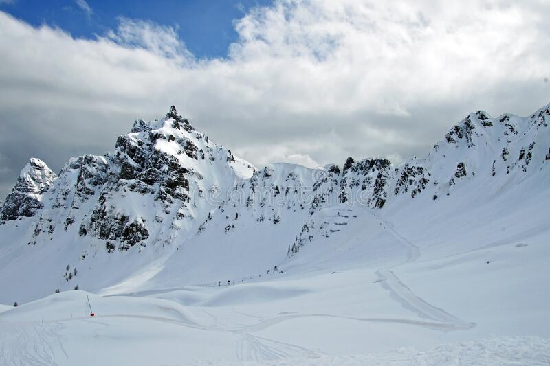Extreme skiing in Alps stock images