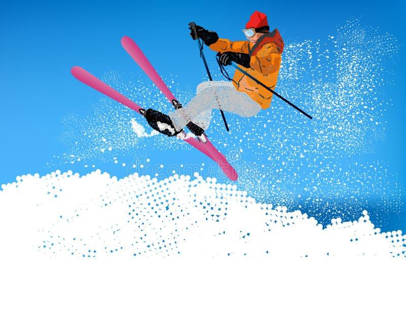 Extreme Skiing.Winter-Sport stock illustratie