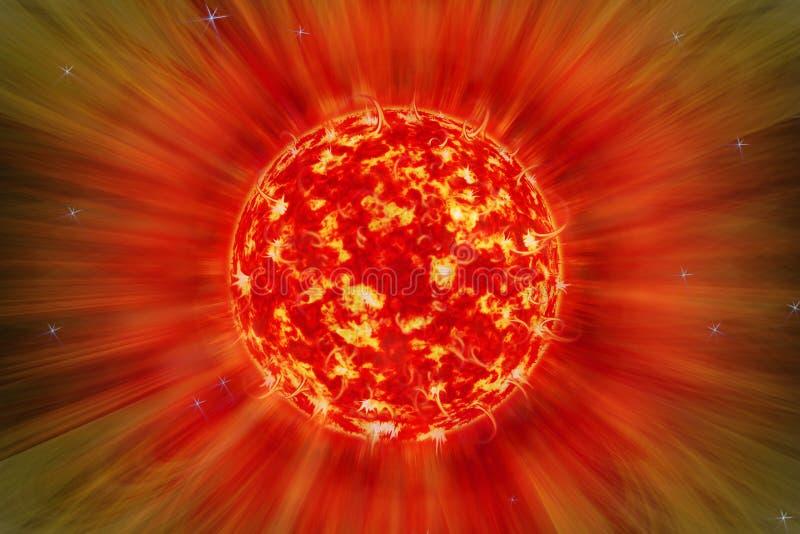 Extreme solar storm, solar flares. Sunburst rays of sunlight. Bright luminous sun with light effect, sunshine with lens flare. royalty free illustration
