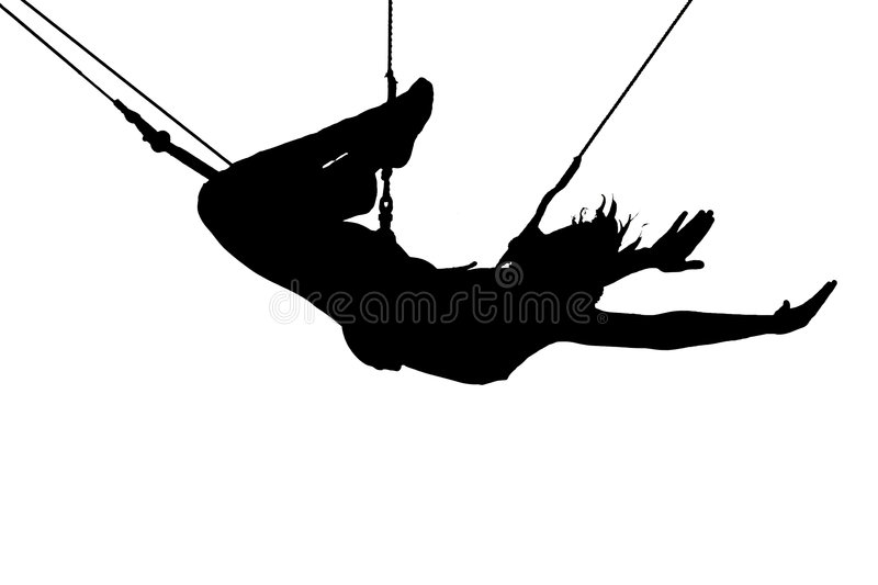 Extreme sport. Silhouette of young women on trapeze, white background royalty free illustration