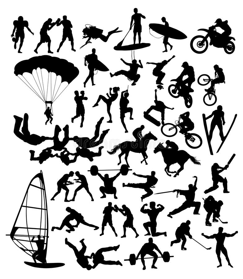 Free Extreme Sport Activity Silhouettes Stock Images - 81126894