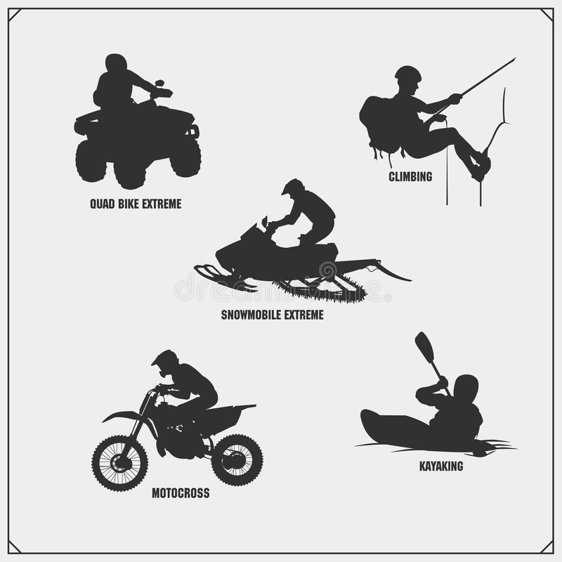 Extreme sport emblems. Quad bike, Snowmobile, Mountain climbing, Motocross jumping, Moto freestyle, Kayaking. Labels, badges and design elements for sport vector illustration