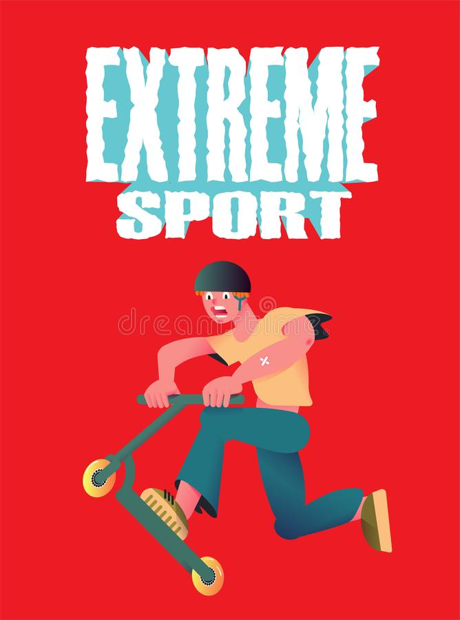 Extreme sport. The guy riding on scooter. Banner in flat style on red background. Vector illustration. royalty free illustration