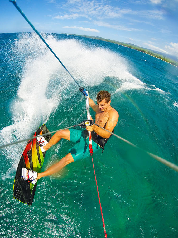Extreme Sport, Kiteboarding. Kite Boarding. Fun in the ocean, Extreme Sport. POV View from Action Camera stock photo