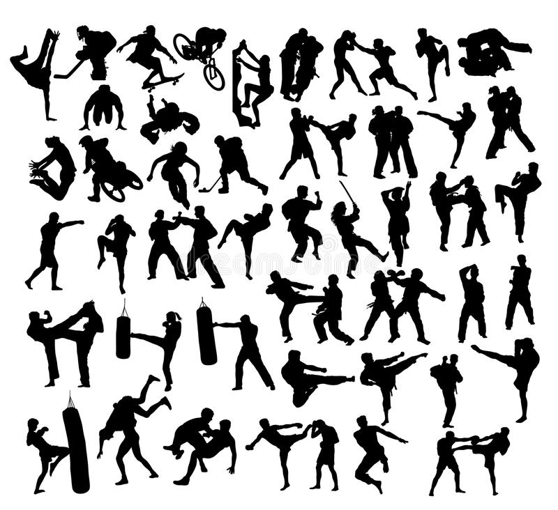 Extreme Sport and Martial Art Silhouettes stock illustration