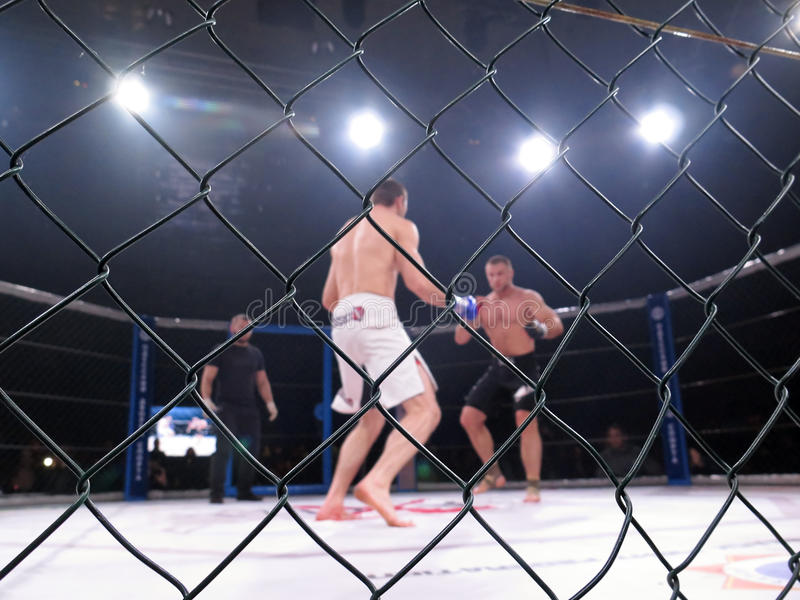 Extreme Sport mixed martial arts competition tournament MMA MAXMIX. Octagonal ring for fights. Odessa, Ukraine - 24 November 2015: Athletes in the ring extreme stock photography