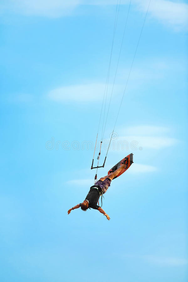 Extreme Sport. Recreational Water Sports. Kiteboarding, Kitesurfing Action In Air. stock photography