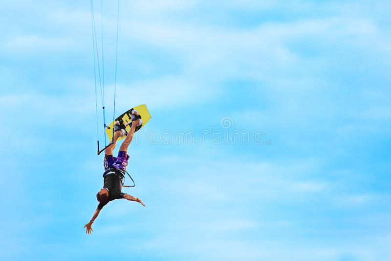 Extreme Sport. Recreational Water Sports. Kiteboarding, Kitesurfing Action In Air. royalty free stock photos