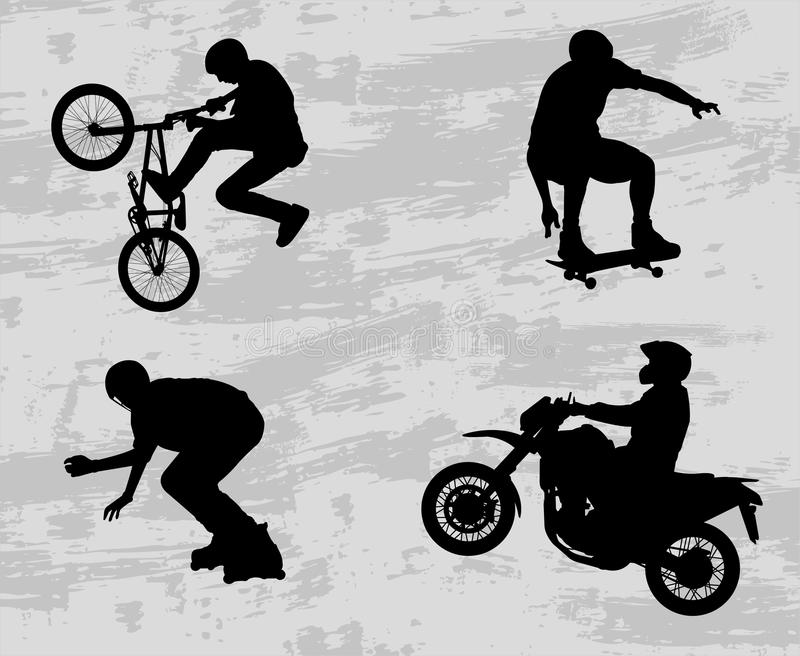 Extreme sport silhouettes royalty free illustration