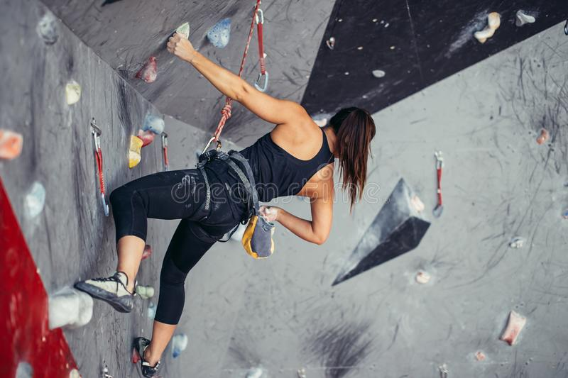 Extreme sport, stress relief, bouldering, people and healthy lifestyle concept. stock image
