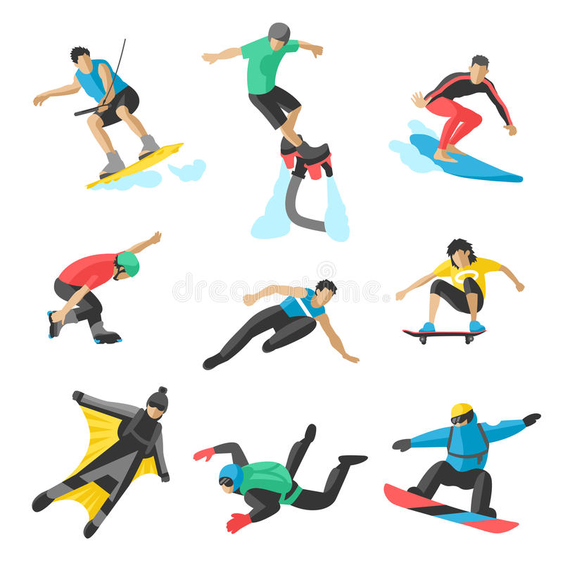 Extreme sport vector people. Parasailing, wakeboard, snowboard, rocker, snowboards, flybord, parkour, extreme, flying vector illustration