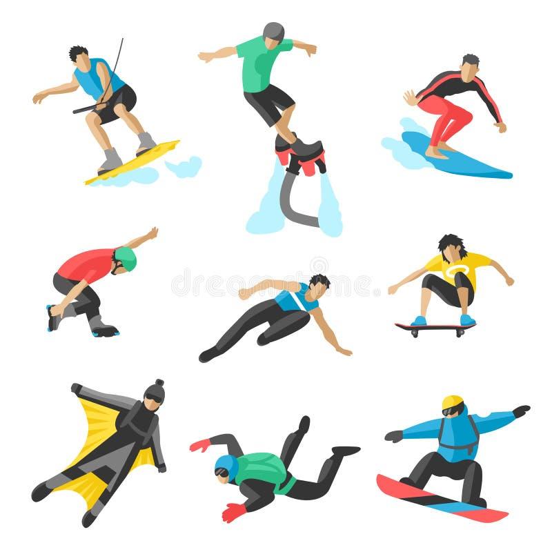 Extreme sport vectormensen Parasailing, wakeboard, snowboard, tuimelschakelaar, snowboards, flybord, parkour, uiterste, het vlieg vector illustratie