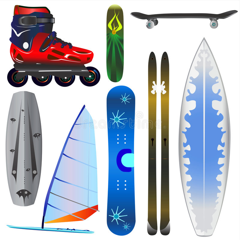 Extreme sports equipments vector vector illustration