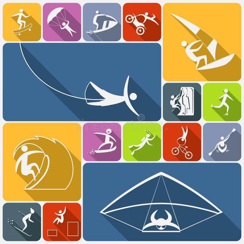 Extreme sports icons flat stock illustration