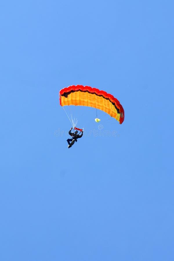 Extreme sports. parachuting. Under a blue sky stock image