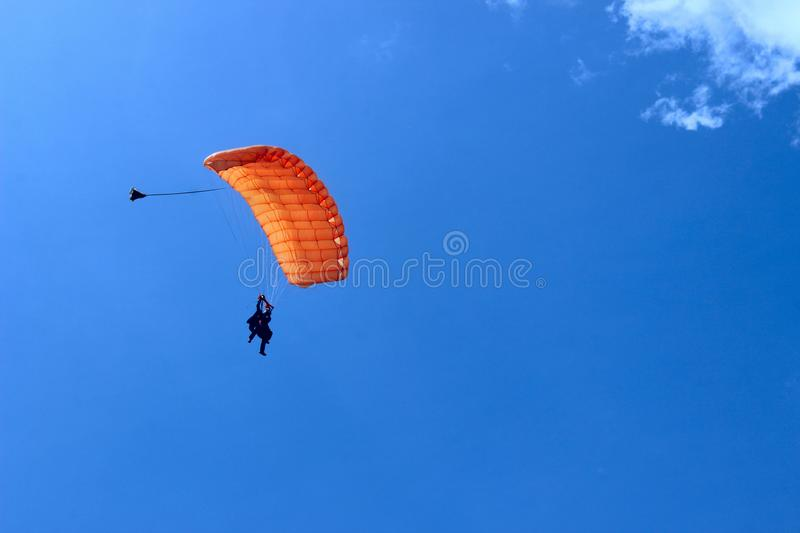 Extreme Sports. Parachuting, Hang Gliding and Paragliding. Skydiver In Blue Sky. Active Hobby.Skydiving.Abstract Nature Background.Extreme Sports. Parachuting stock image