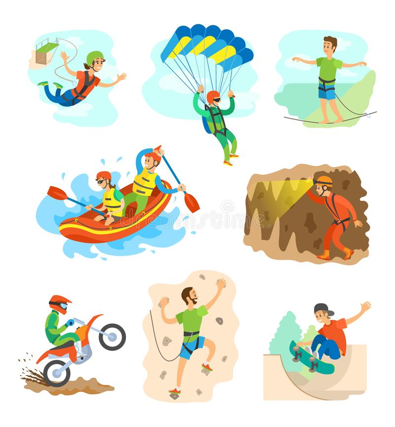 Extreme Sports, Bungee Jumping and Rafting in Boat stock illustration