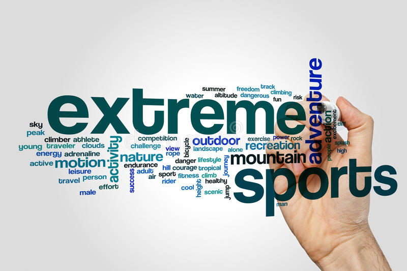 Extreme sports word cloud concept on grey background stock photos