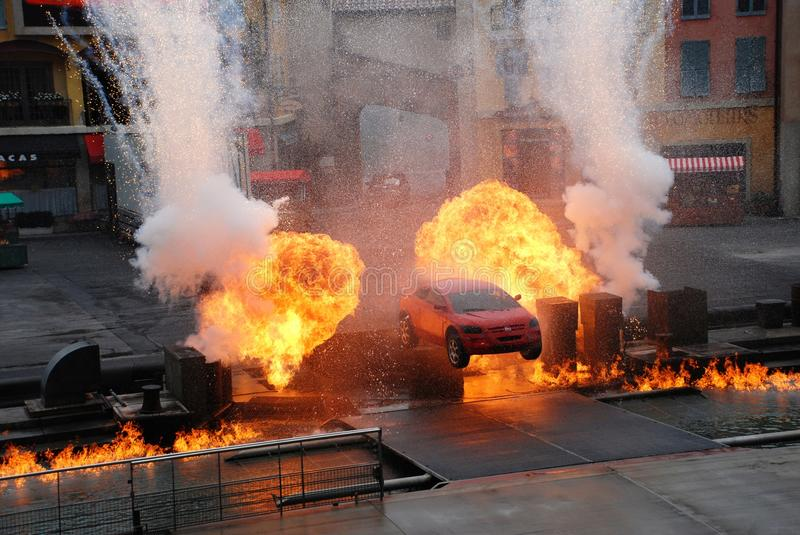 "Extreme Stunt show. Motors extreme Stunt show called ""Lights, Motors, Action!"" in Hollywood studio, Orlando ,Florida. The show runs for about 40 royalty free stock photo"