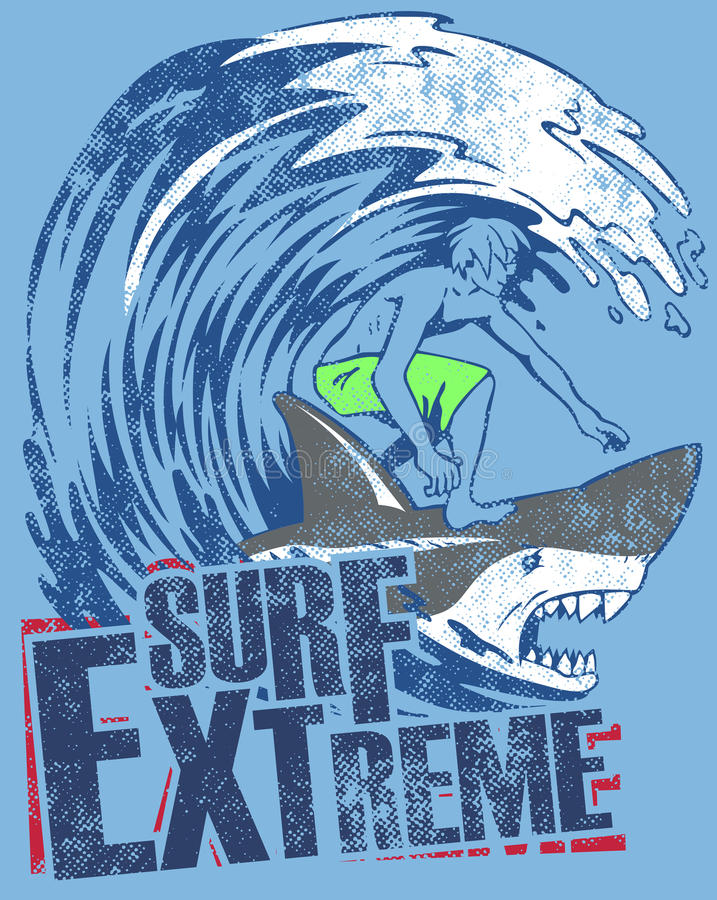 Extreme surfer. Graphic of man surfing on back of shark in wave over text of surf extreme on blue background stock illustration