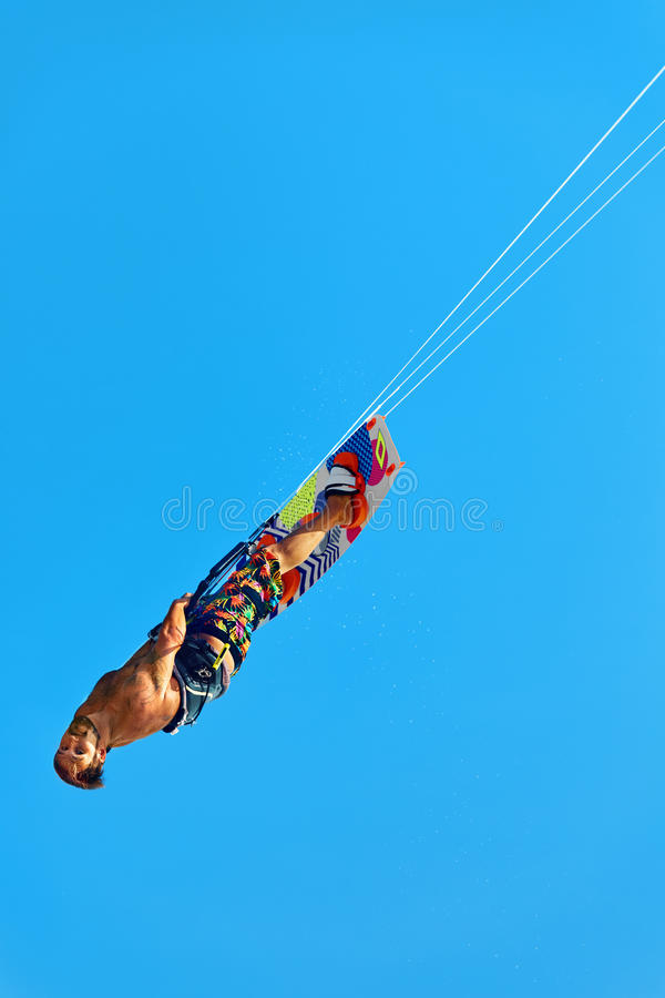 Extreme Water Sport. Kiteboarding, Kitesurfing Air Action. Recreational Sports. Summer stock photography