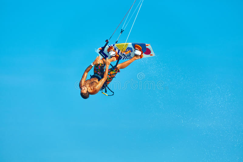 Extreme Water Sport. Kiteboarding, Kitesurfing Air Action. Recreational Sports. Summer royalty free stock photography