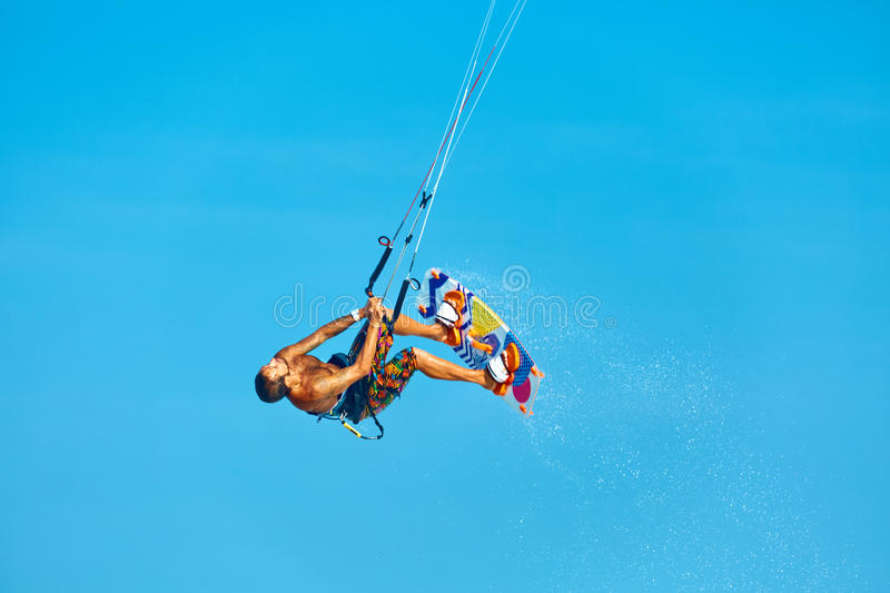 Extreme Water Sport. Kiteboarding, Kitesurfing Air Action. Recreational Sports. Summer stock images