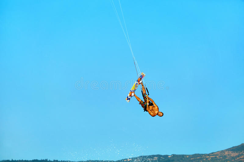 Extreme Water Sport. Kiteboarding, Kitesurfing Air Action. Recreational Sports. Summer stock photos