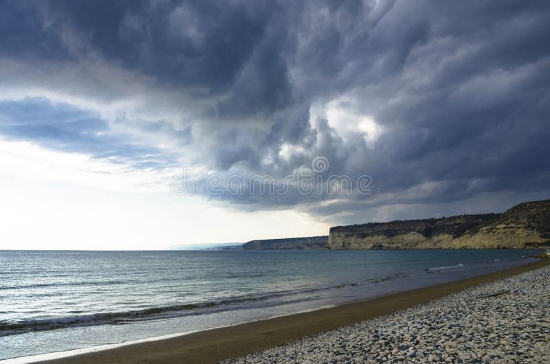 Extreme weather. Dark cloudy sky before storm.  stock image
