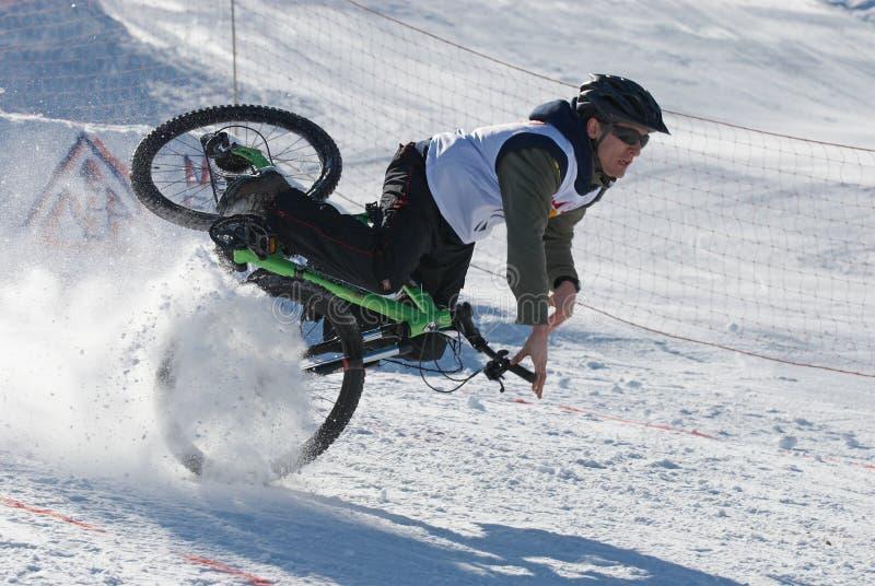 Extreme winter mountain bike contest stock photos