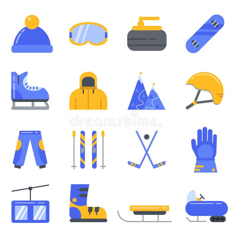 Extreme winter sport. Ski, snowboard and other equipment. Vector icon set in flat style stock illustration