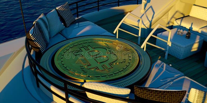 Extremeley详述了和运输大Bitcoin的豪华超级游艇的现实3D例证 库存图片