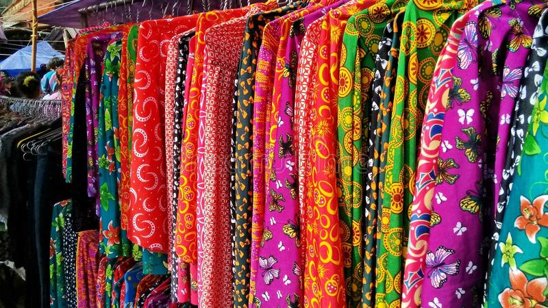 Colorful Clothes On A Market In North Vietnam Stock Photo ...